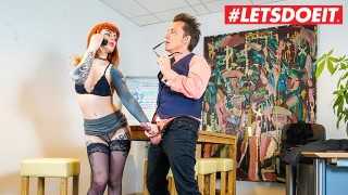 LETSDOEIT – Tattooed German Secretary Takes Good Care Of Her Boss's Cock