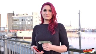 GERMAN SCOUT – Redhead College Teen Melina Talk To Fuck At Street Casting